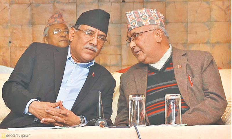 UML-Maoist merger: Oli, Dahal 'committed' to party unity